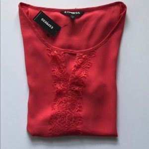 NWT SZ S EXPRESS TOP - CORAL W/LACE & KEYHOLE